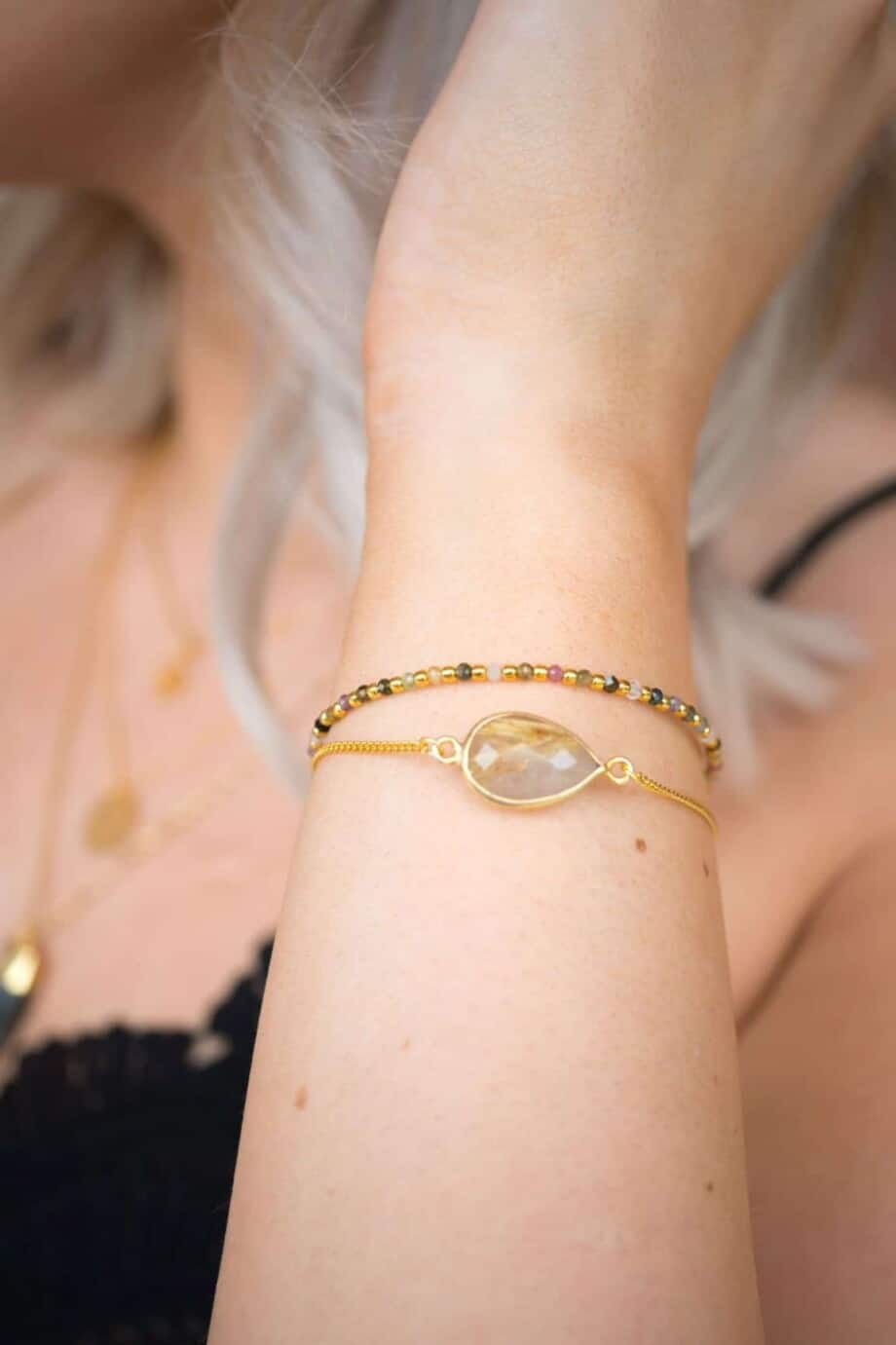 Gouden armband met rutiel kwarts edelsteen