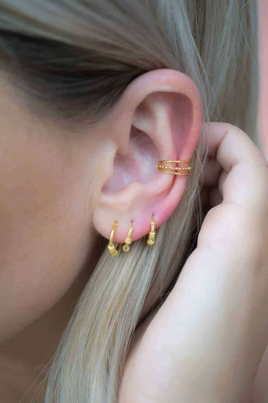Gouden oorbellen 'Bali hoops Gold' van Goud Vermeil