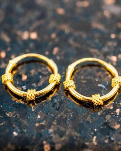 'Bali rope' Gouden oorbellen 12 mm