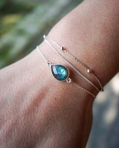 Zilveren armband met edelsteen blauwe Labradoriet van Sterling Zilver. Handgemaakte edelsteen sieraden van Jewels by KC.