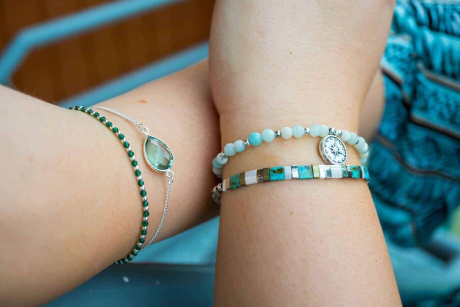 Handgemaakte armbanden Groen en Turquoise
