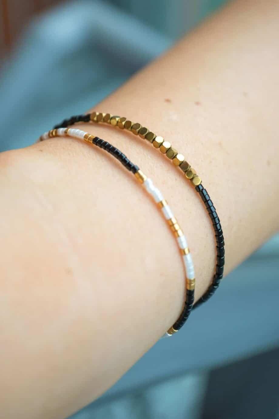 Handgemaakt Miyuki armband Delica Black Gold White
