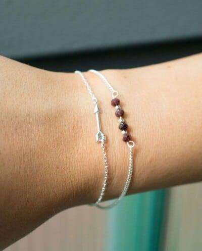 Handgemaakte Zilveren armband met Granaat edelsteen