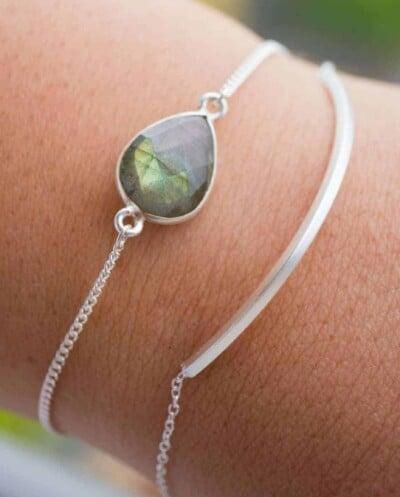 Handgemaakte Zilveren armband met edelsteen groene 'Labradoriet' van Sterling Zilver