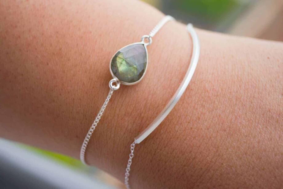Zilveren armband met edelsteen groen-blauwe Labradoriet van Sterling Zilver