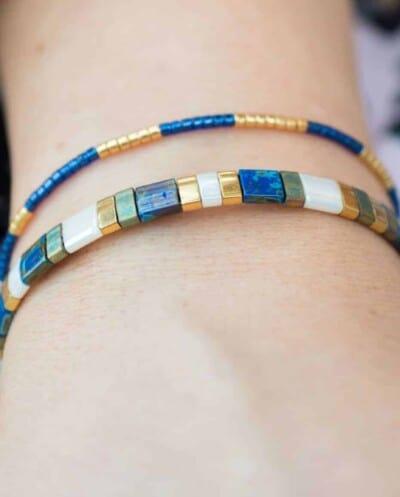 Handgemaakte Miyuki armband 'Delica Royal Blue'