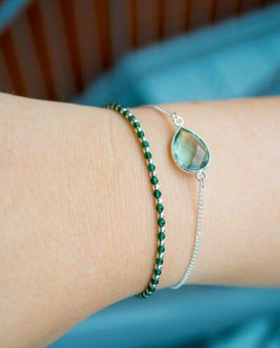 Zilveren armband met groene Aquamarijn edelsteen
