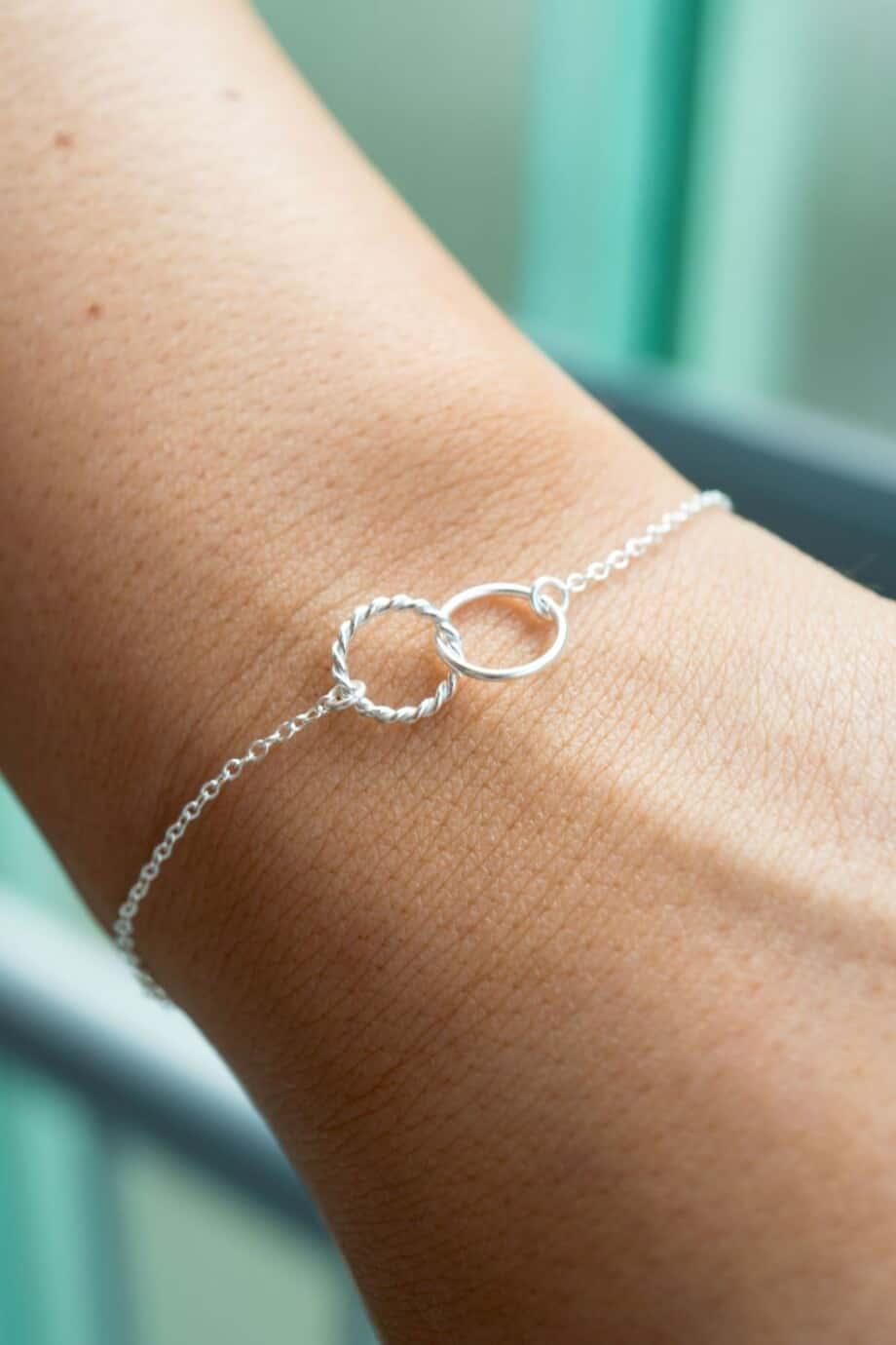 Zilveren Armband Linked circles