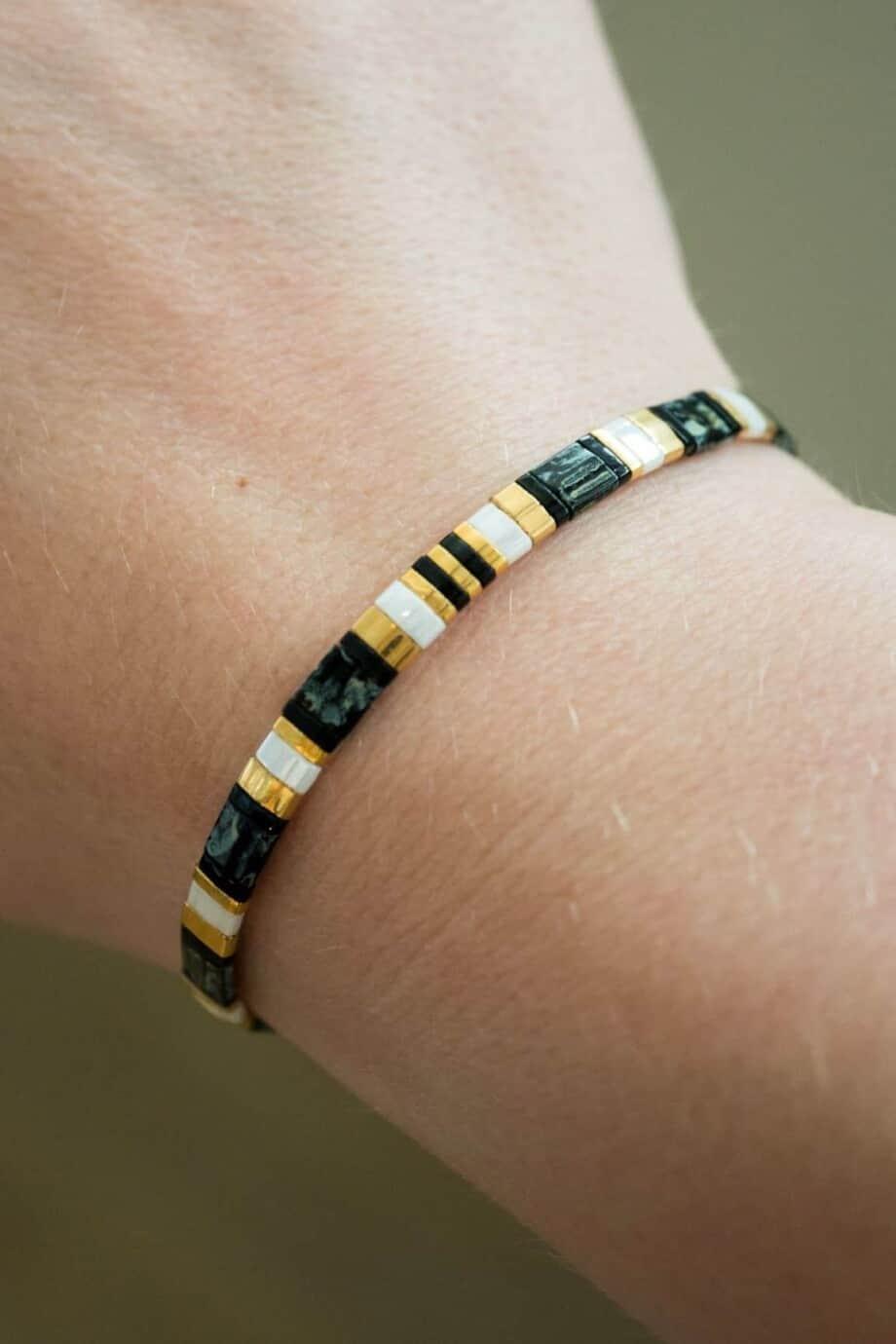 Handgemaakt armbandje Miyuki Black Sand Beach