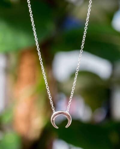 Zilveren ketting met hanger 'Buffalo Horn' van Sterling Zilver