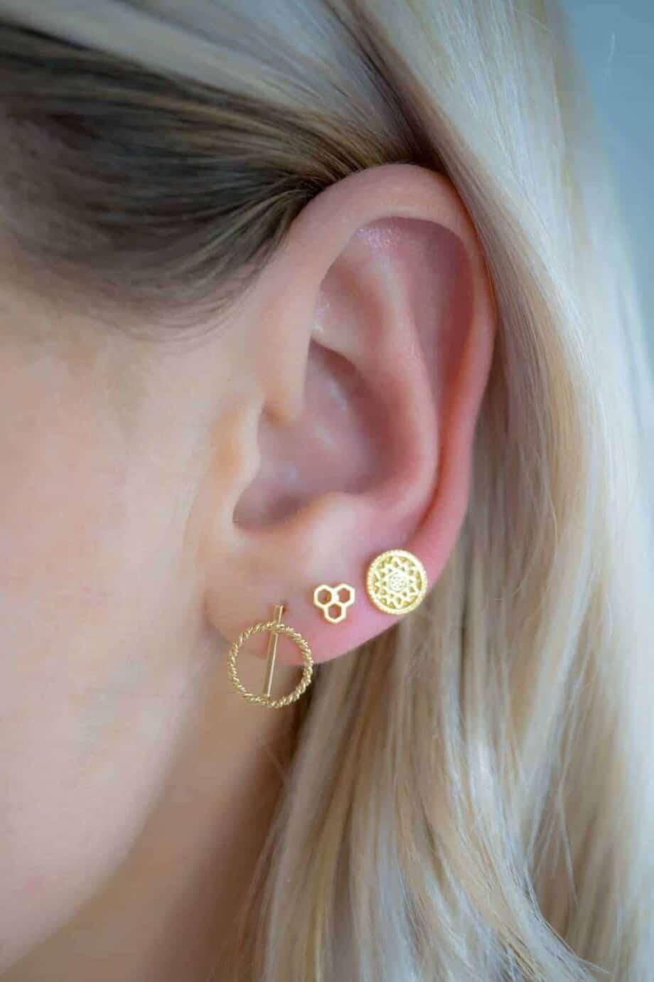 Gouden oorbellen 'Compass' van Goud Vermeil