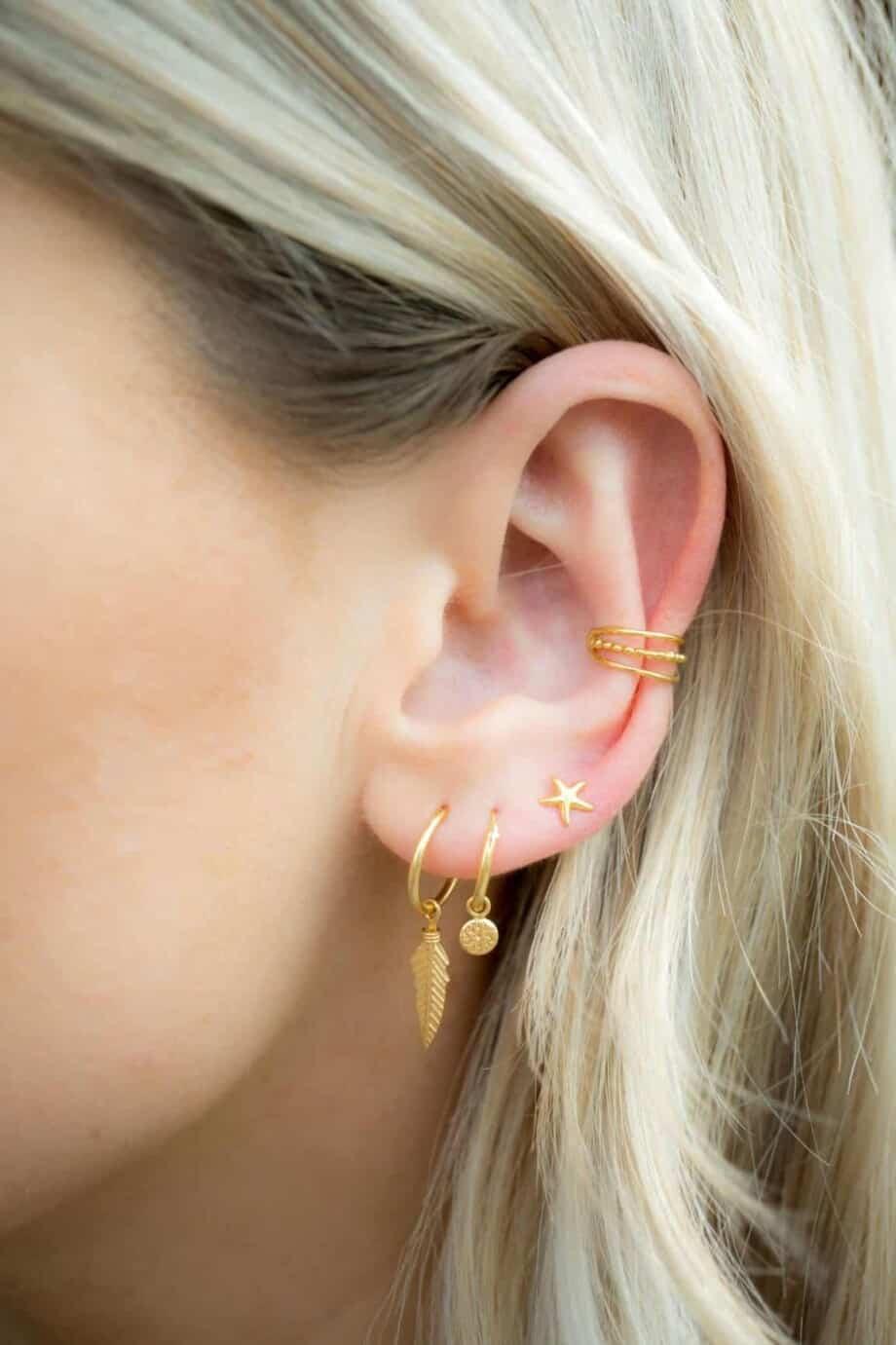 Gouden oorbellen Starfish studs van Goud op Zilver