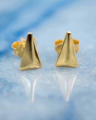 Gouden oorbellen 'Triangle' van Goud Vermeil