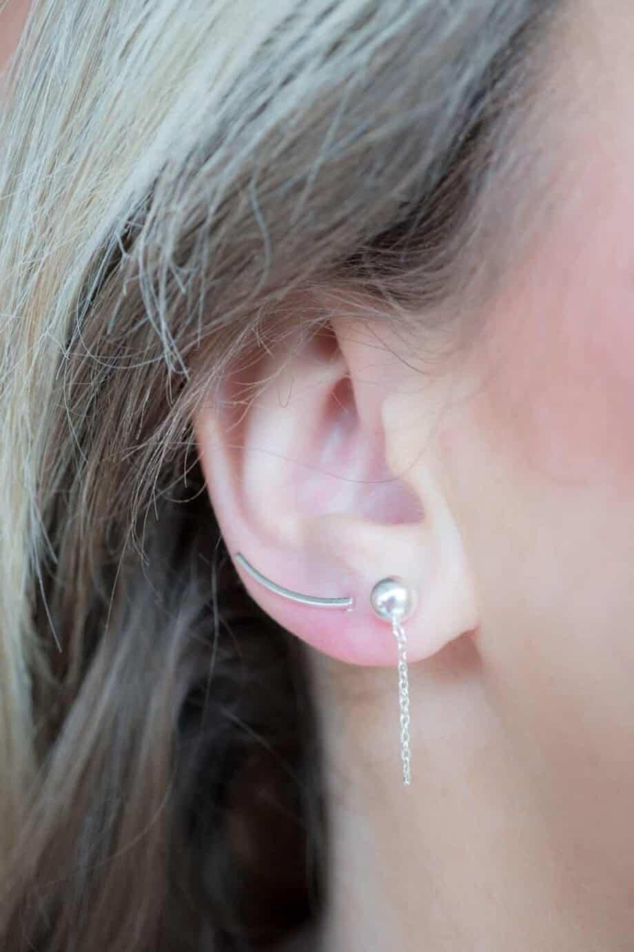 Zilveren oorbellen Curve