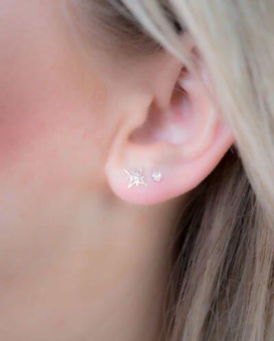 Zilveren Crystal studs oorbellen