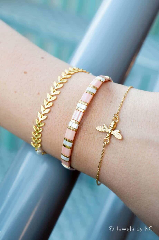 Roze-wit-goud Miyuki Tila Armband 'Pastel Pink'
