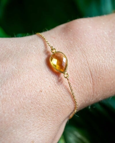 Handgemaakte Gouden armband met Citrien edelsteen