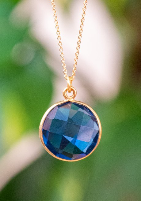 Gouden ketting met edelsteen hanger blauwe 'ioliet' van Goud op Zilver