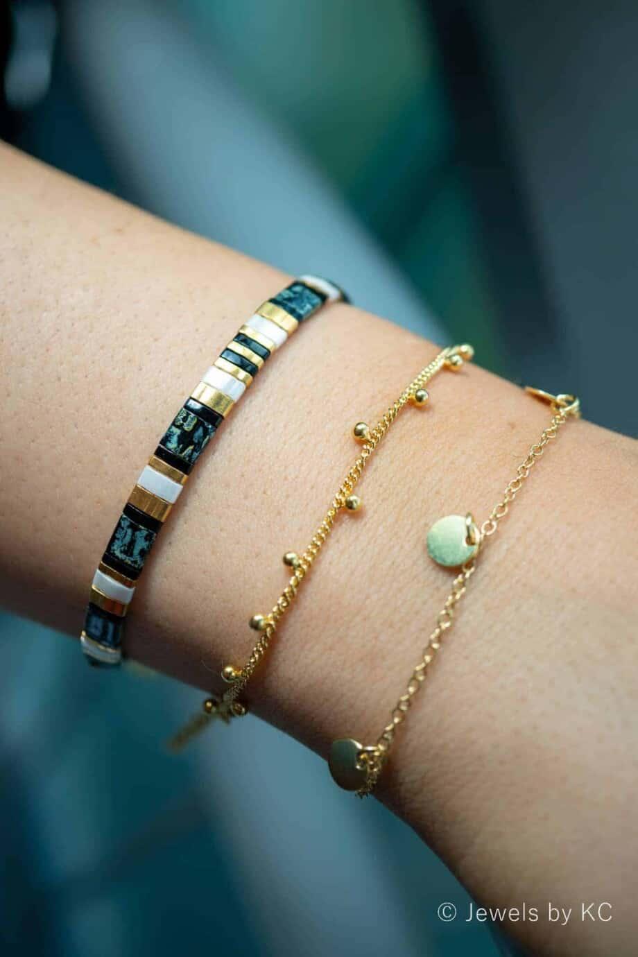 Gouden armband met muntjes 'Coins' van Goud op Zilver