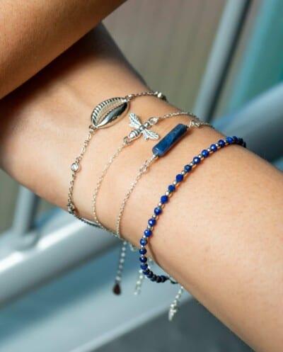 Handgemaakte Zilveren edelsteen armband blauwe 'Lapis Lazuli' van Sterling Zilver