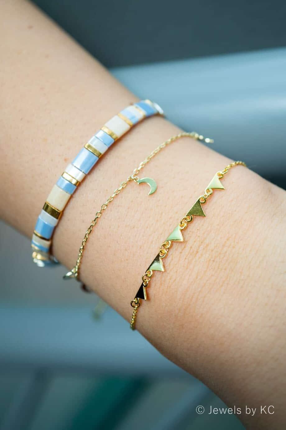 Gouden armband 'Pyramides' van Goud op Zilver