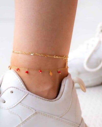 Gouden enkelbandje 'Chain' van Goud op Zilver