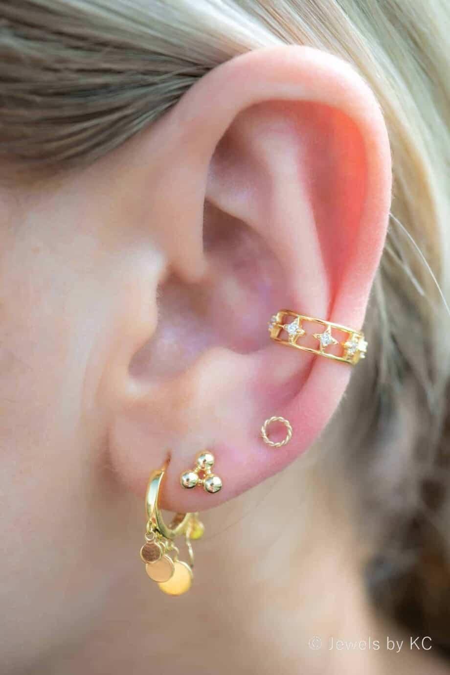 Gouden oorbellen hangers 'Confetti' van Goud op Zilver