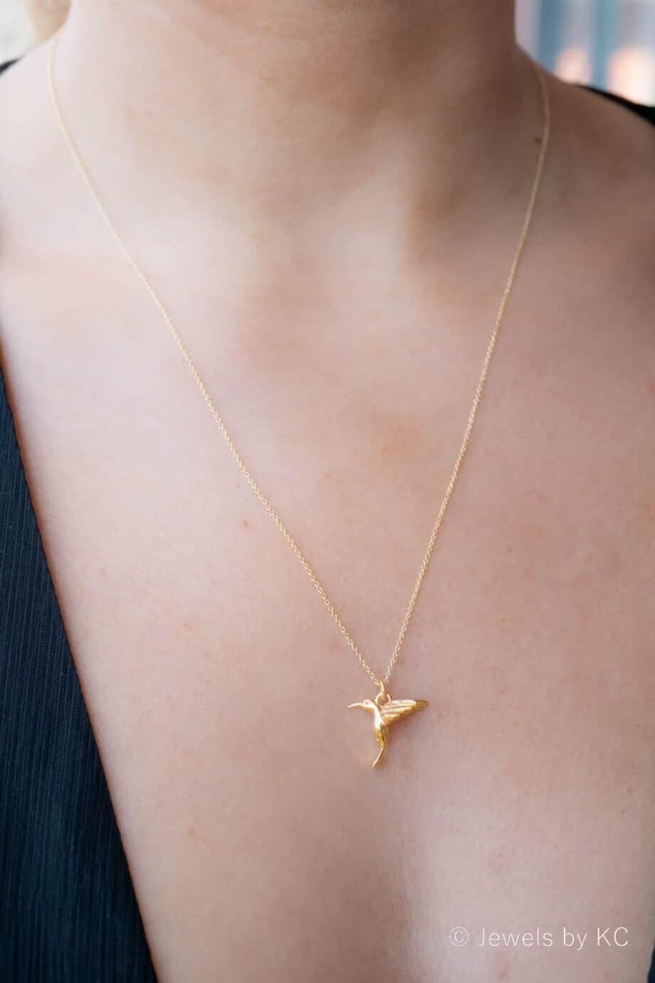 Gouden Ketting met hanger 'Hummingbird' Kolibrie vogel van Goud op Zilver