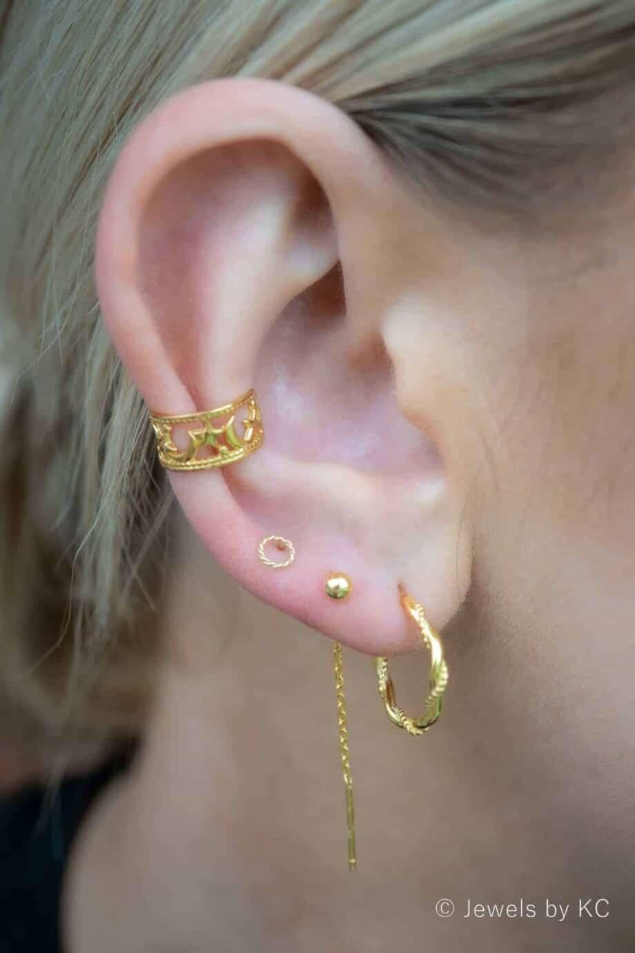 Gouden ear cuff 'Moon and Stars' van Goud op Zilver