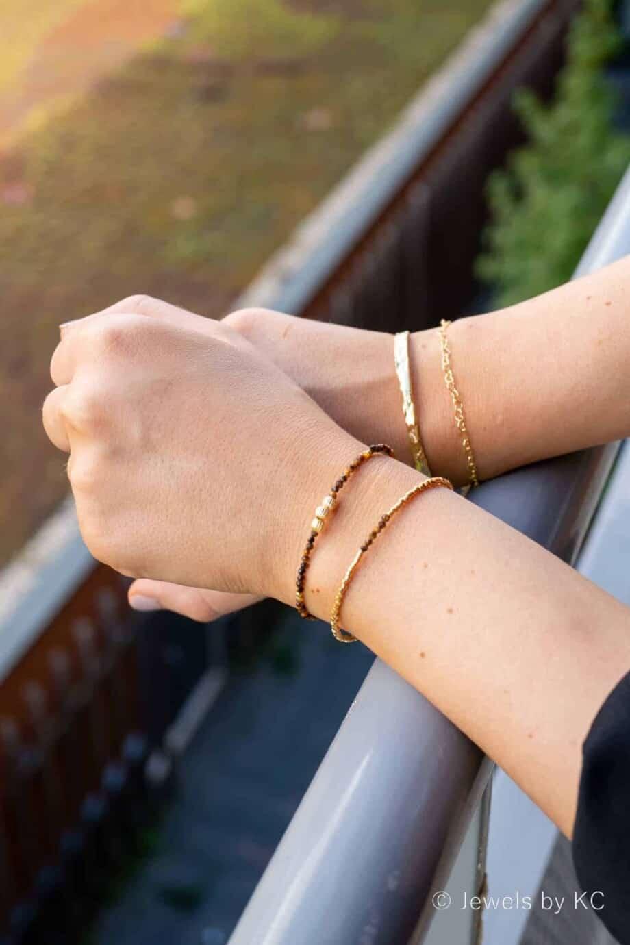 Miyuki Delica Armband 'Golden tiger'