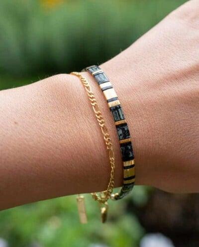 'Black and Gold' Miyuki Tila armband