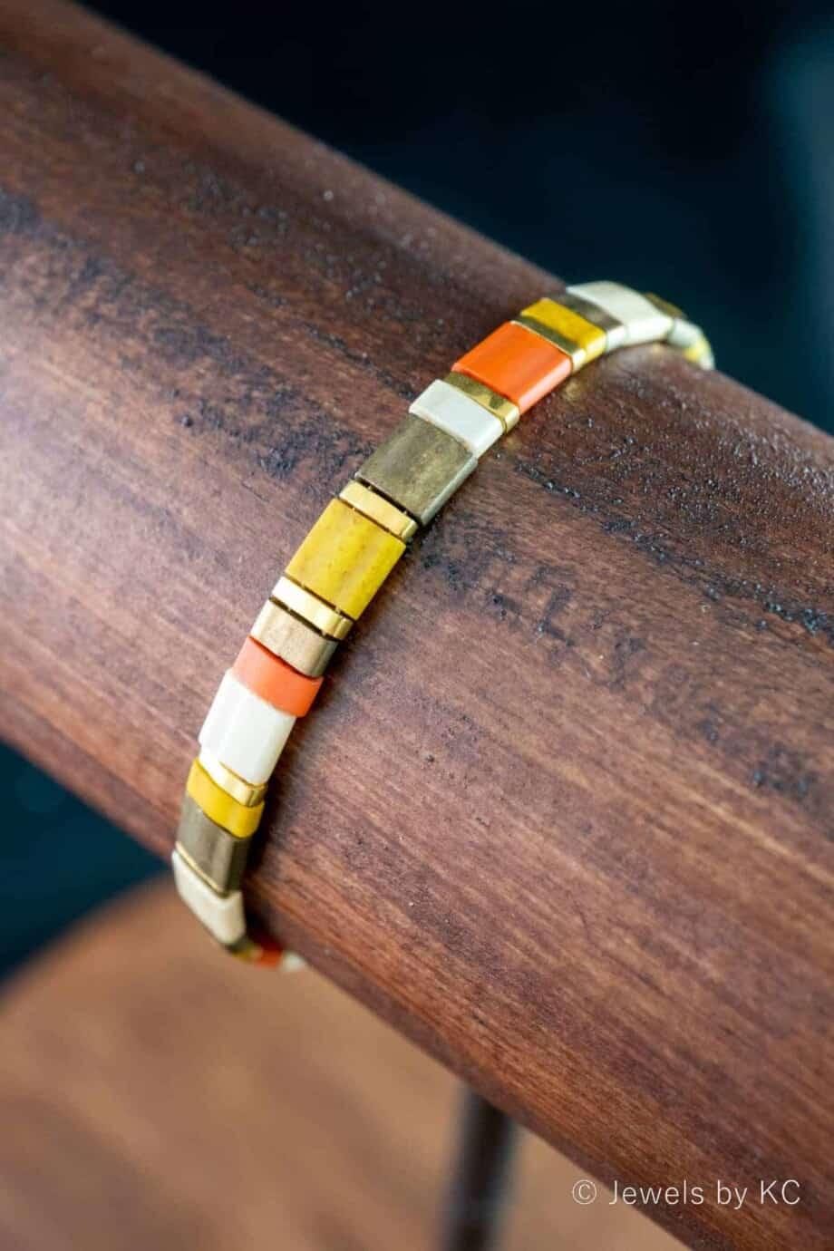 Handgemaakte Miyuki Tila armband 'Terracotta Bronze'