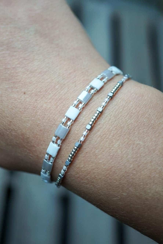 WS-AR-20091 WS-AR-20090 Handgemaakte Miyuki Tila armband 'Ice Cold'