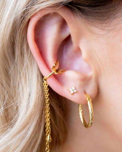 Gouden oorbellen 'Vintage Twist Hoops' van Goud op Zilver