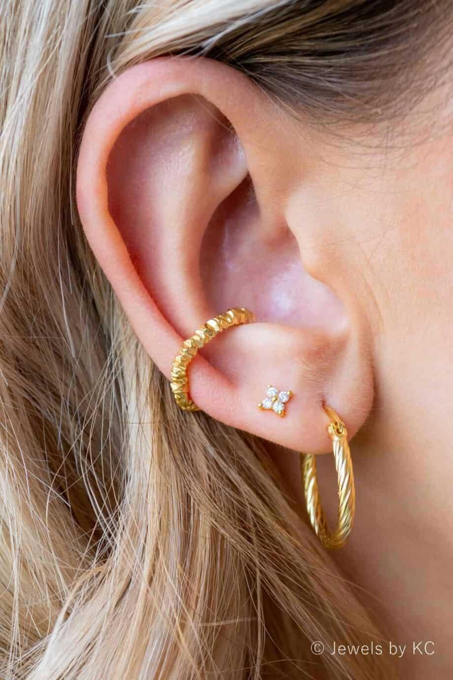 Gouden ear cuff 'Rocky' van Goud op Zilver