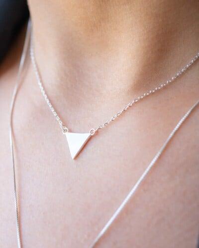 Zilveren ketting met hanger 'Triangle' van Sterling Zilver