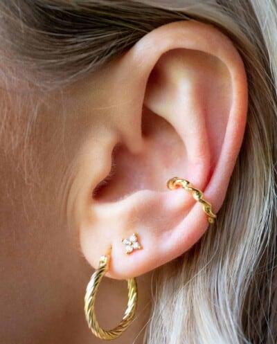 Gouden oorbellen Vintage Twist Hoops van Goud op Zilver