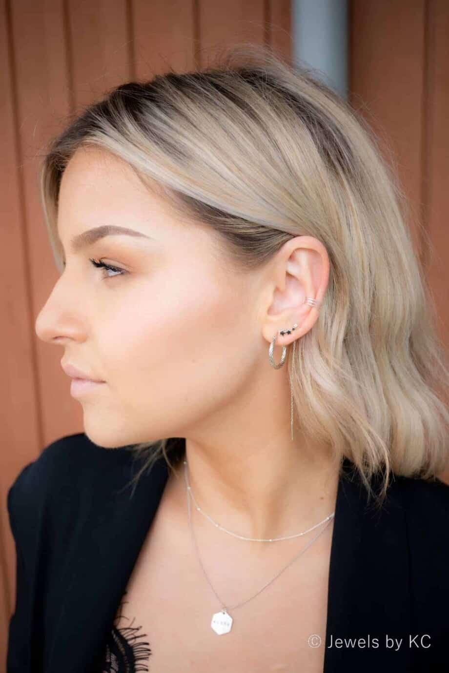 Zilveren ear cuff en Zilveren oorbellen van Sterling Zilver