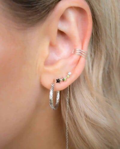 Zilveren oorbellen 'Rising star threader' van Sterling Zilver