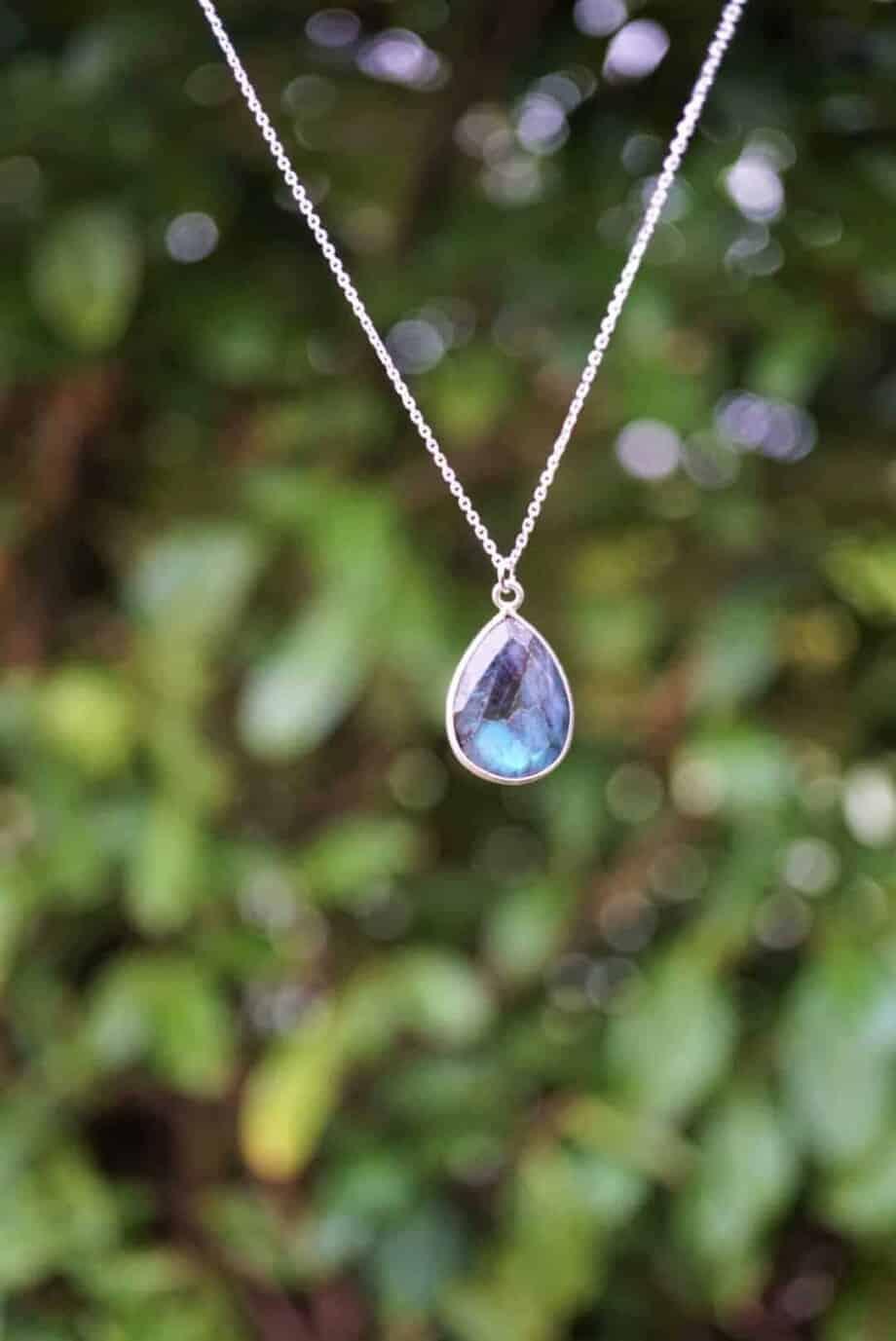 Zilveren edelsteen ketting blauwe Labradoriet van Sterling Zilver