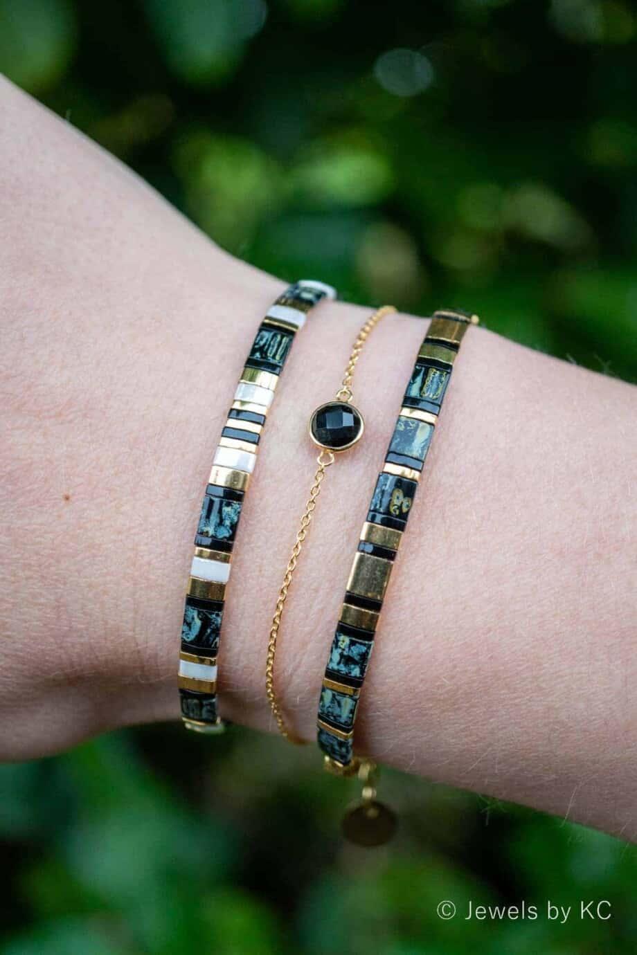 Gouden edelsteen armband zwarte Onyx van Goud op Zilver