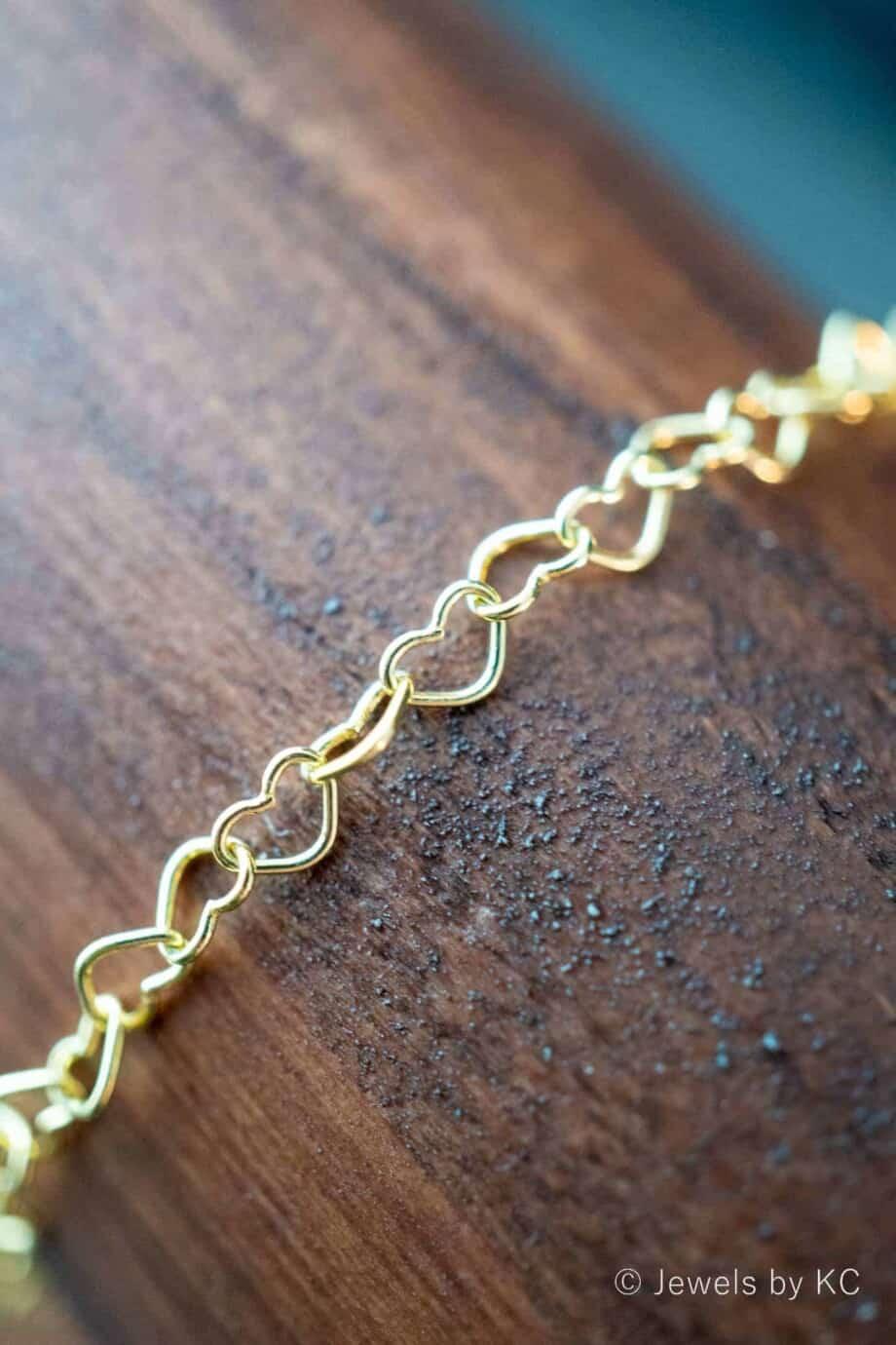 Gouden hartjes armband Goud op Zilver hartjes schakelarmband