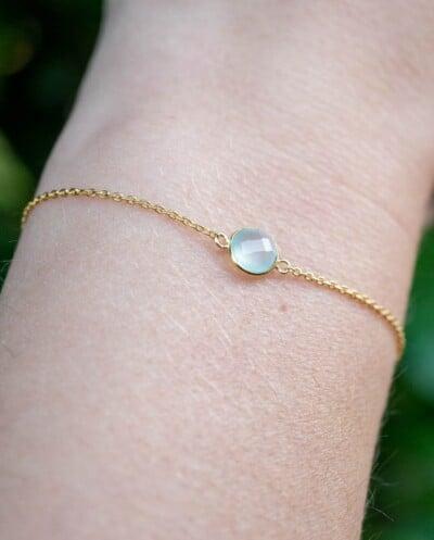 Gouden edelsteen armband Aqua Chalcedoon van Goud op Zilver