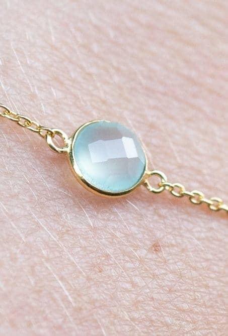 Gouden edelsteen armband licht-blauwe Aqua Chalcedoon van Goud op Zilver