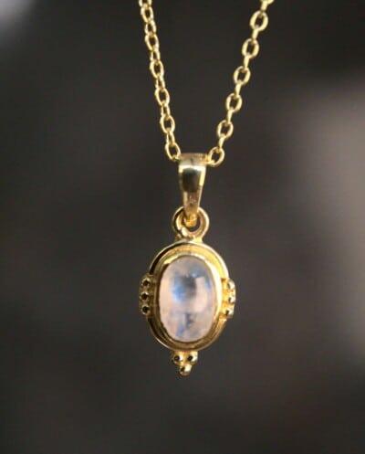 Gouden edelsteen ketting regenboog-maansteen van Goud op Zilver