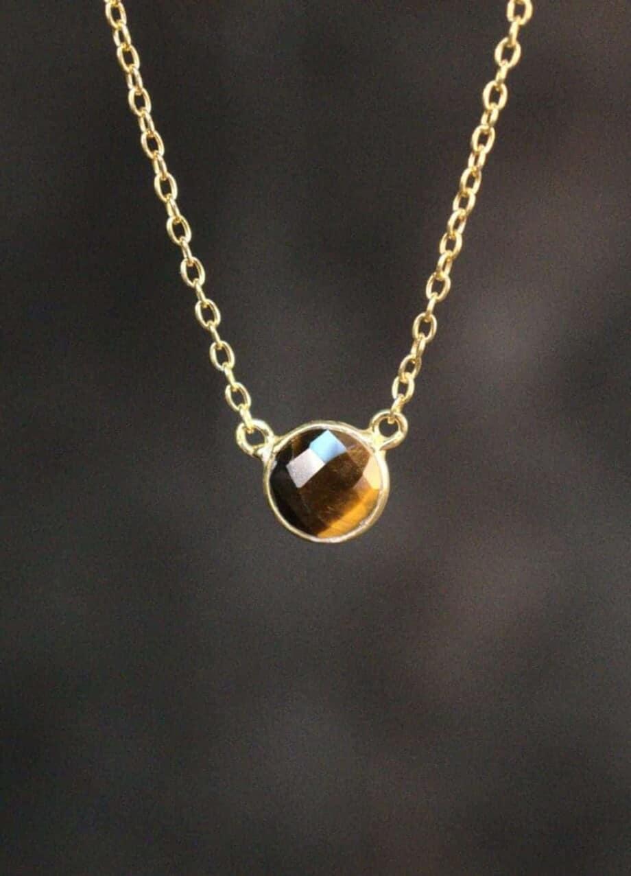 Gouden edelsteen ketting bruine Tijgeroog van Goud op Zilver