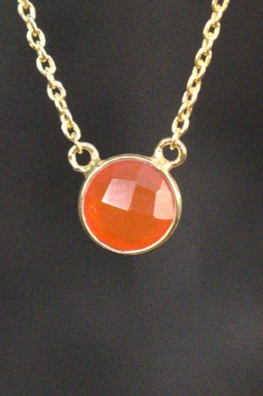 Gouden edelsteen ketting rood-oranje Onyx van Goud op Zilver