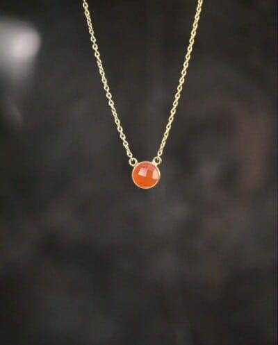 Gouden edelsteen ketting oranje-rode Onyx van Goud op Zilver