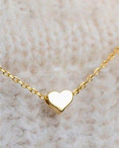 Gouden ketting met hanger 'hartje' van Goud op Zilver