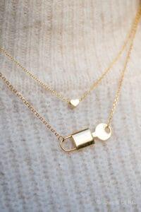 Gouden ketting 'Hartje' en 'Slotje met sleutel' van Goud op Zilver